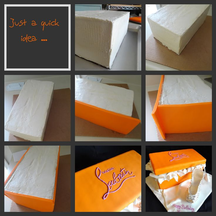 Orange Shoe Box Cake and Stiletto Heel Shoe