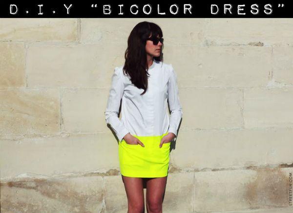 robe bicolore DIY : robe bicolore à partir dune chemise blanche