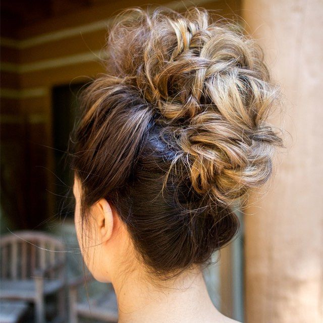 curly faux hawk wedding updo