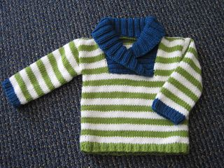 Sweater can be knit with a shawl neck or round neck, and with or without stripes.