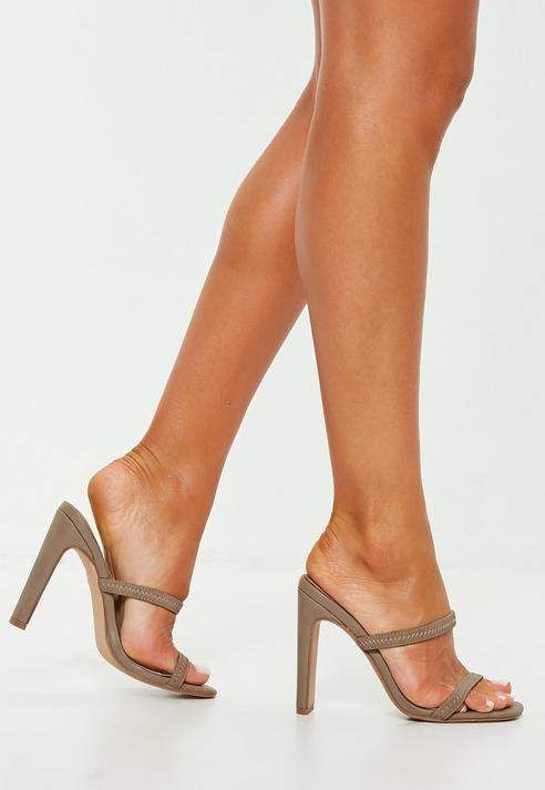 85e3305a2e521 Taupe Sporty Double Strap Mules in 2019 | Heels | Heeled mules ...