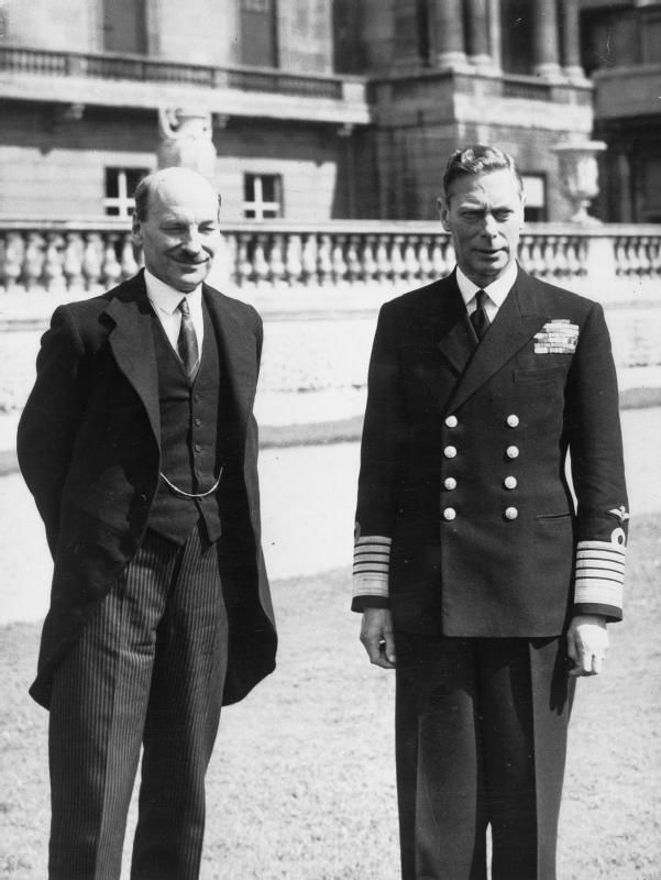 British Prime Minister Clement Attlee and King George VI of the United Kingdom, Buckingham Palace, London, 26 Jul 1945. (Imperial War Museum)