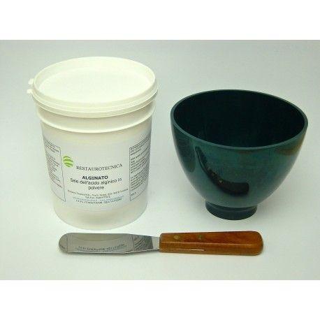 Kit per alginato composto da indispensabili strumenti per la miscelazione e utilizzo. Il kit contiene: n.1 conf. da 500 gr. di alginato  n.1 tazza flessibile grande in silicone morbido n.1 spatola per alginato 3002-10