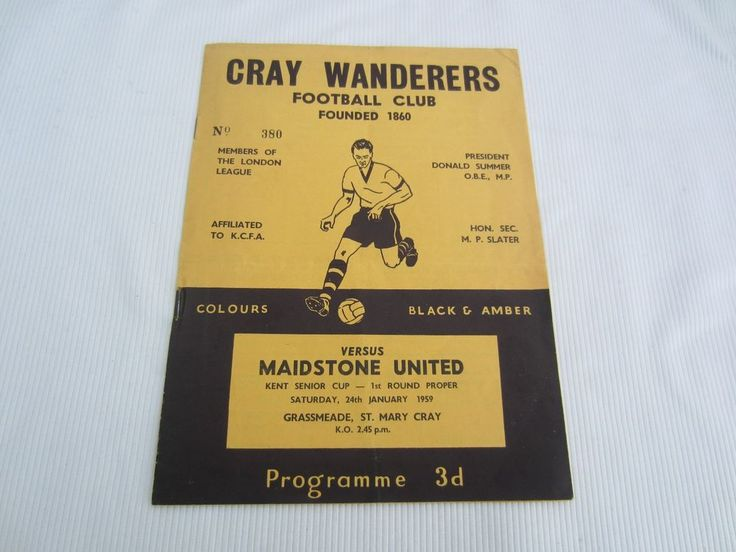1958-59 KENT SENIOR CUP CRAY WANDERERS v MAIDSTONE UNITED