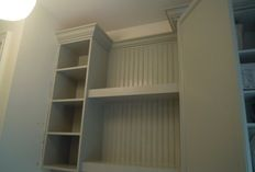 Space Laundry Room Designs Interior Furniture Custom Handmade White Hardwood Laundry Cabinets With Open Shelves Storage As Decorate In Small Space Laundry Room Designs Cool Laundry Cabinets For Your Storage Ide ~ rukle