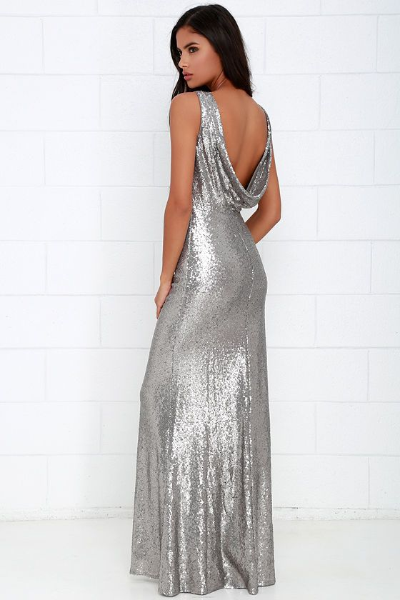Slink and Wink Matte Silver Sequin Maxi Dress