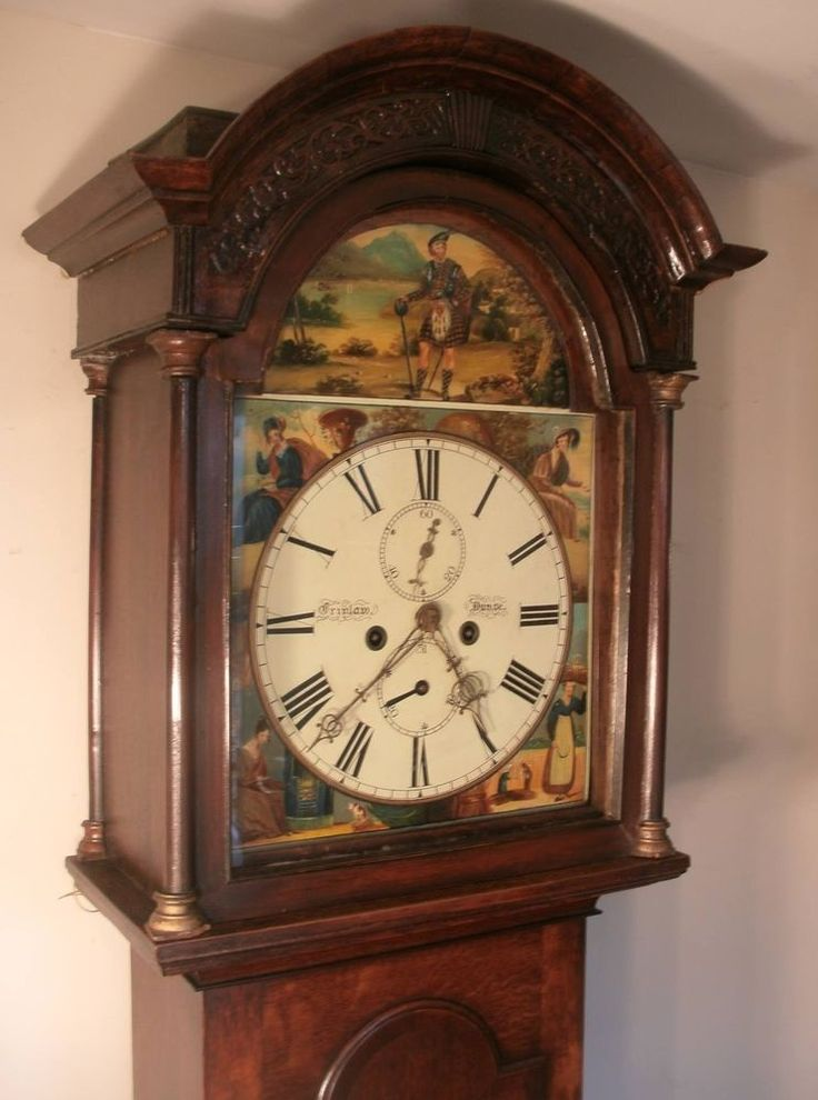 "Shabby Chic Shop Antique Oak ""scottish"" Rob Roy Dial Grandfather / Longcase"