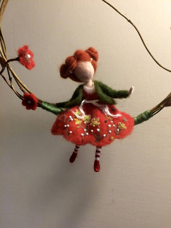 Needle felted fairy Waldorf inspired Spring Wool fairy Red