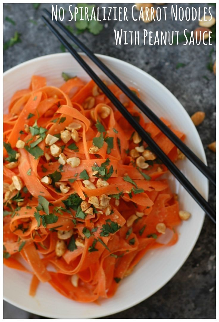 Raw carrot noodles topped with an easy, spicy peanut sauce. Vegan, gluten-free, and no spiralizer required!