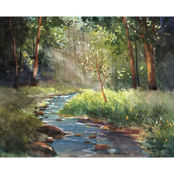 watercolor landscape GICLEE CANVAS PRINT creek stream Trees light shining  Blue green tree olive   24x30