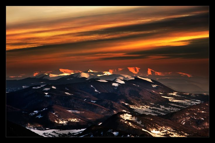 Sunset in Bieszczady Mountains
