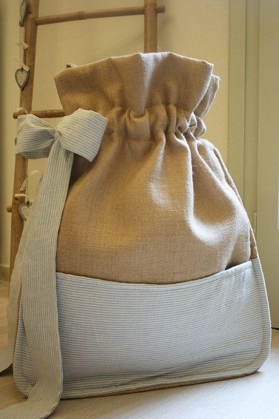 Συλλογή Βάπτισης Καλοκαιρινή Αύρα #Υφασμάτινη τσάντα-πουγκί βάπτισης από λινό ύφασμα #Baptism/Christening Bag Carriage #Baptism Fabric Keepsake Bag #Linen Large Pouch Bag #Large Burlap Pouch #Starfish Baptism Set