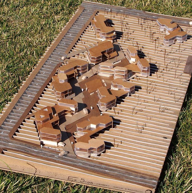 Agrupación de viviendas.E: 1/200 -Cartón pluma Kraft -Madera balsa -Acetato transp. y tanslúcido -Tela mosquitera