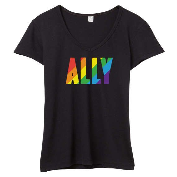 LGBTQ Ally V-Neck // LGBTQ Ally Shirt // LGBT Ally T Shirt //