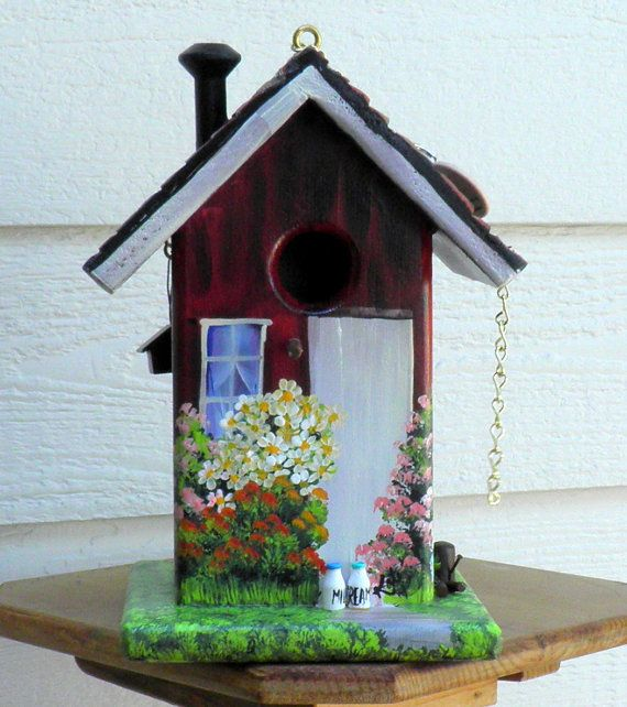 Red and White Birdhouse  Environmentally by BirdhouseBlessings, $79.00