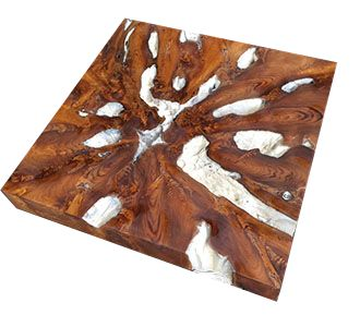 "Teak root slab top for a coffee or dining table. 3/8"" beveled glass top (not pictured). Leg options -Teak, Stainless Steel, Wrought Iron."
