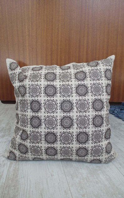 Crystal Bloom - Screen printed - Chocolate brown on natural cotton/linen www.unwrapped.co.za