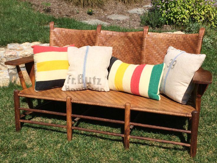 Repurposed Hudson Bay Blankets As Pillows Decor Outdoor