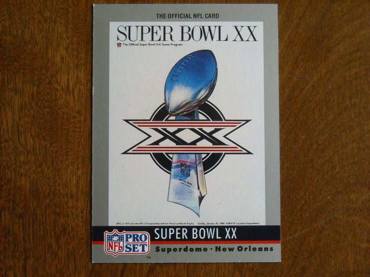 Super Bowl XX January 1986 Bears vs. Patriots Card No. 20 (FB20) 1990 Pro Set Football Card - for sale at Wenzel Thrifty Nickel ecrater store
