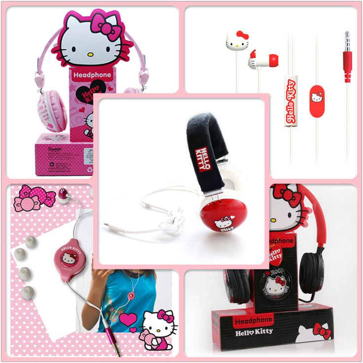 Hello kitty cute pink stereo headphones with mic MP3 earphones gift box