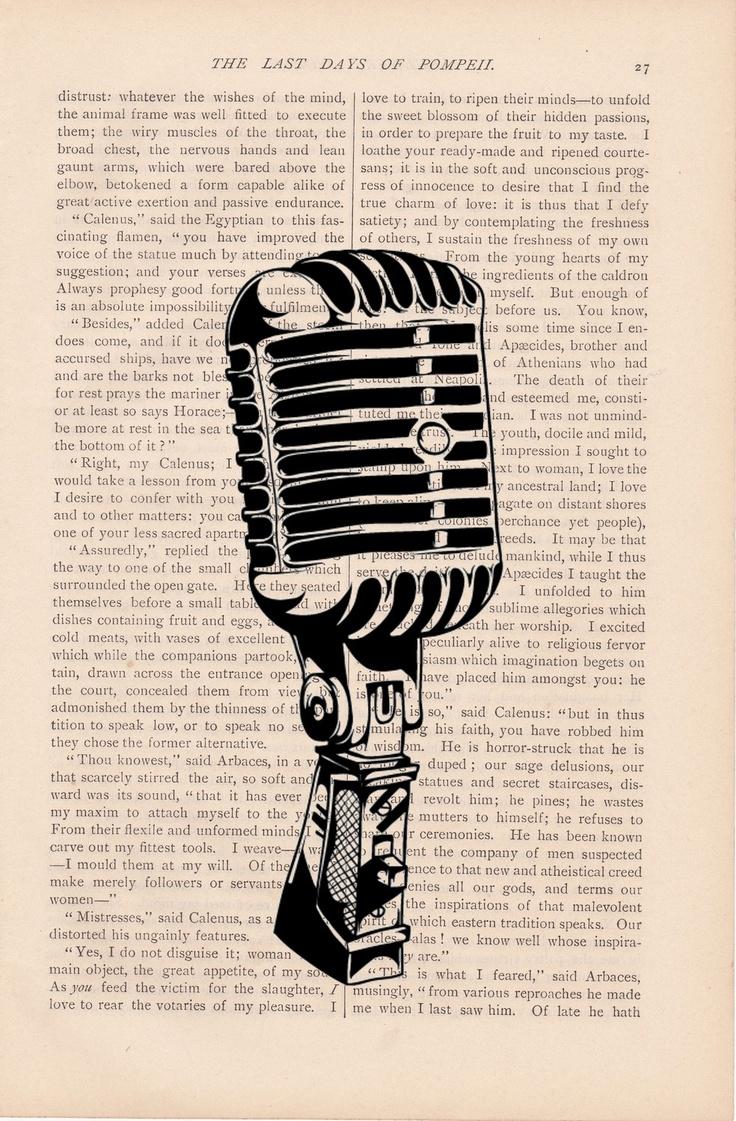 dictionary art print - vintage retro MICROPHONE print - vintage art book page print - microphone dictionary page. $9.00, via Etsy.