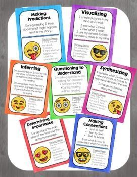 Reading Comprehension Strategy Posters- EMOJIS. Making predictions, visualizing, inferring, questioning, synthesizing, determining the importance and making connections.