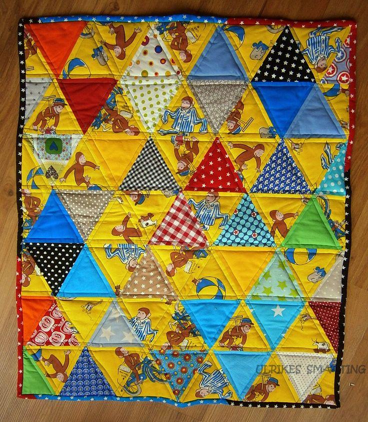 Coco der neugierige Affe, Baby Quilt, Babydecke, Curious George, Baby Blanket,Wandbehang, handgearbeitet von UlrikesSmaating auf Etsy