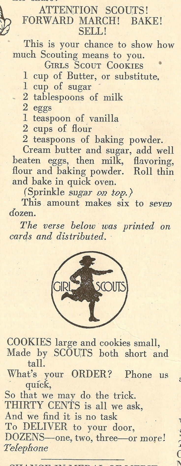 1922 Recipe for Girl Scout Cookies -- Juniors who are earning their Playing the Past badge might have fun making this recipe (with adult supervision), especially now that it's cookie season!