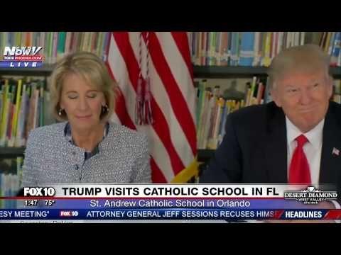 WATCH: Trump and DeVos Visit St. Andrew Catholic School in Orlando, FL - YouTube