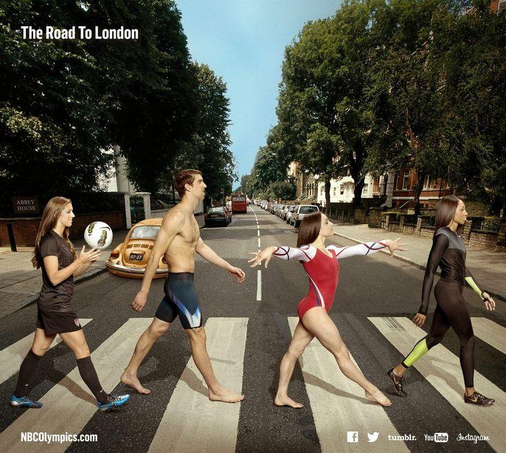 Members of Team USA cross Abbey Road. — with Alex Morgan, Michael Phelps, Jordyn Wieber and Allyson Felix
