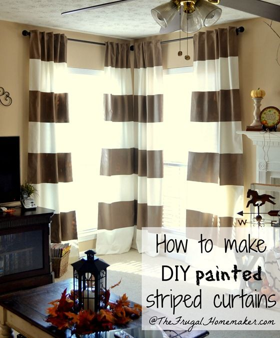DIY Painted Striped Curtains Home Dont Really Want To Paint But I Like The Way She Dd Tabs Love Layout Of Room