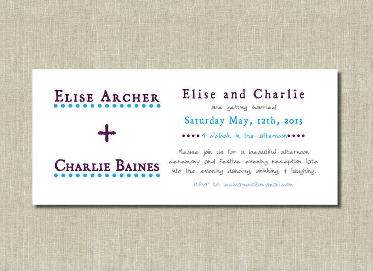 Items Similar To Simple Casual, Long, Printable Wedding Invitation   Navy  Blue, Purple   Anniversary, Rehearsal On Etsy
