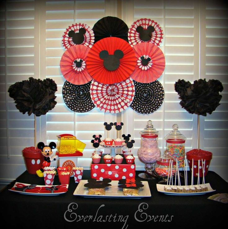 Amazing dessert table at a Mickey Mouse birthday party! See more party planning ideas at CatchMyParty.com!