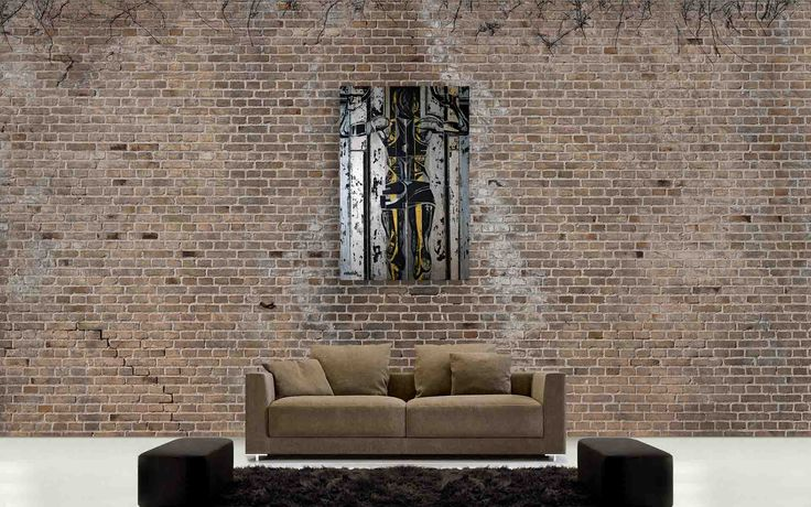 Modern living room with brown brick wall and painting Supergirl 7 by @ania_luk_com
