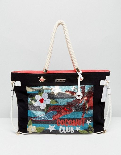 River Island Embroidered Front Beach Tote Bag