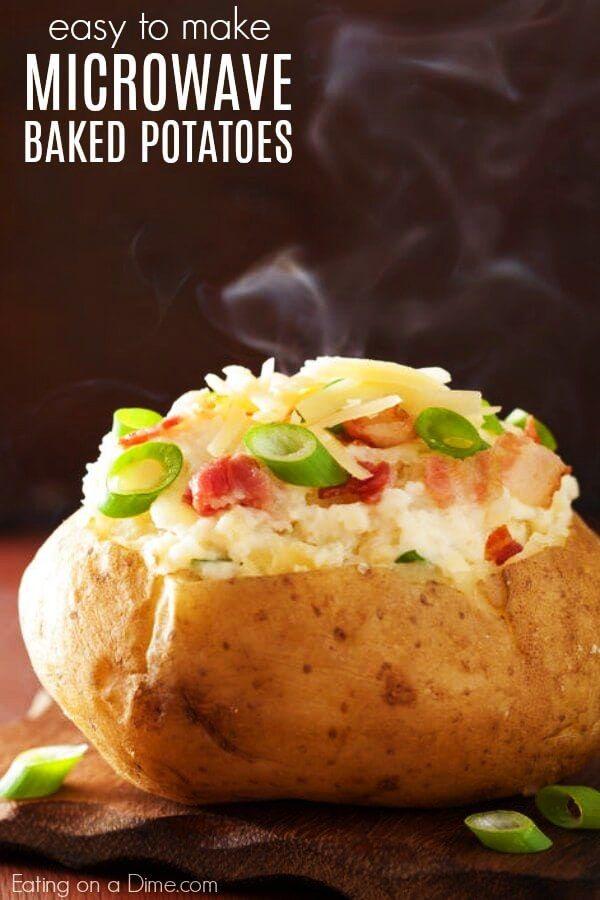 Easy To Make Microwave Baked Potatoes Mit Bildern Ofenkartoffel Essen Kartoffeln In Der Mikrowelle