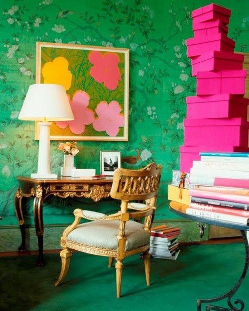 Green floor with green walls: Offices Spaces, Green Wall, Emeralds Green, De Gournay, Hot Pink, Bathroom Interiors Design, Andy Warhol, Art Rooms, Design Bathroom