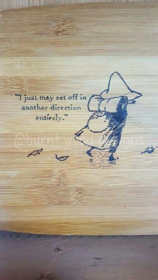 Moomins snuffkin quote chopping board gift
