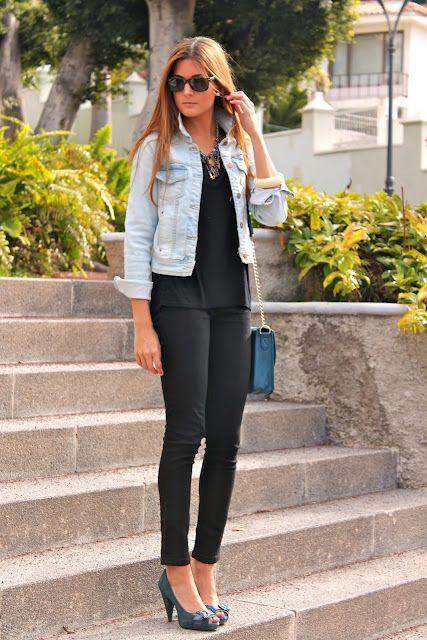 all black + light-washed denim jacket + ray bans + heels