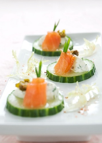 food & drink - food - appetizers - seafood - fish - smoked salmon canapés