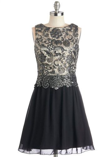 Ore Achiever Dress - Prom, Chiffon, Woven, Lace, Mid-length, Black, Silver, Crochet, Special Occasion, A-line, Sleeveless, Better