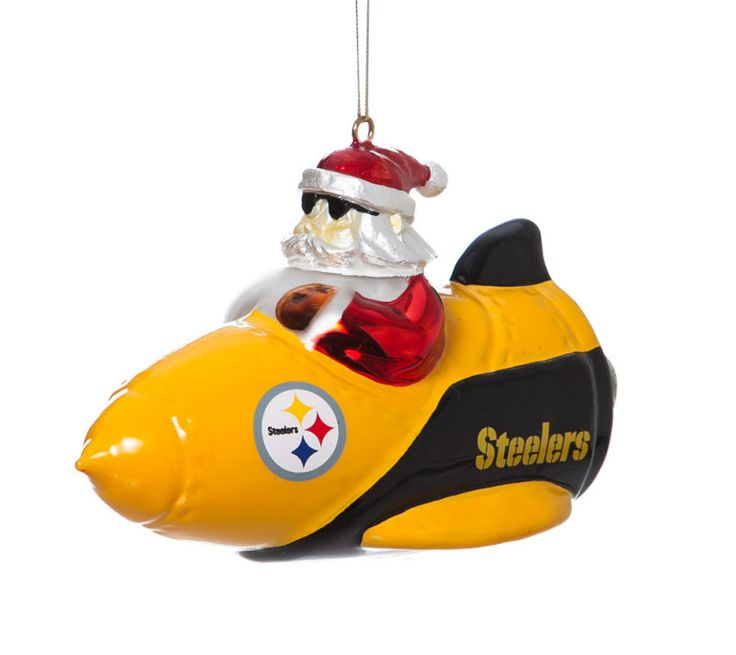 Pittsburgh Steelers Santa Gets There Rocket Ornament