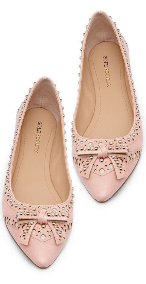 Blush Studded Bow Flats ღ