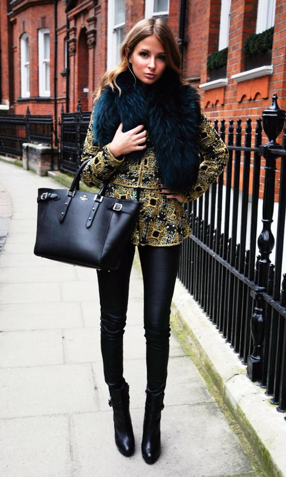 Millie Mackintosh Is Chic In The City Wearing A Virgos Lounge Jacket And Her Charlotte Simone Stole, 2013