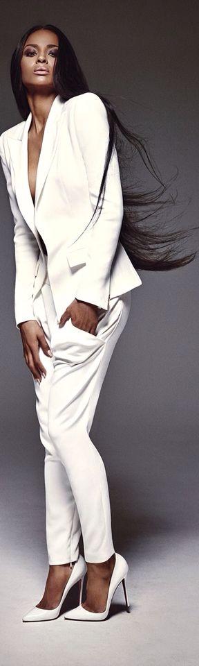 Брючный костюм #костюм #белый #пиджак #брюки