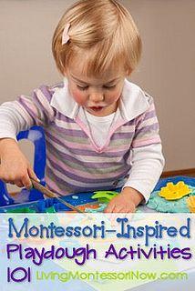 Montessori-Inspired Playdough Activities 101 - links to recipes and Montessori-inspired ways to prepare playdough activities