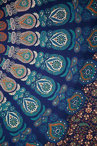 Tenture motif médaillon imprimé cachemire turquoise