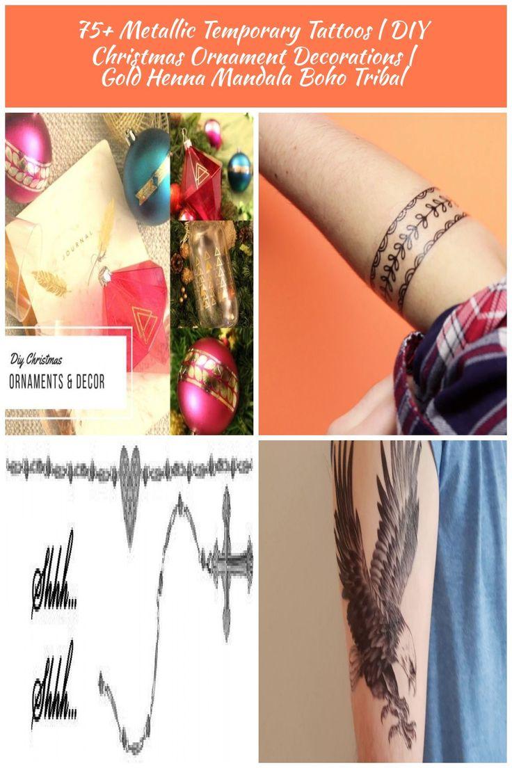 75+ Metallic Temporary Tattoos | DIY Christmas Ornament Decorations | Gold Henna…