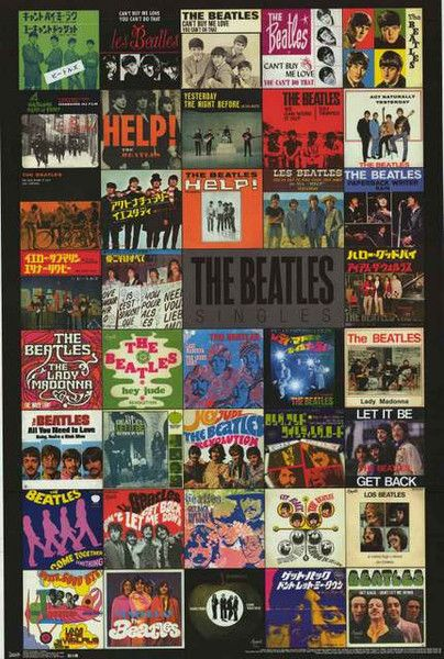 The Beatles Singles Picture Sleeves Album Covers Music Poster 22x34 – BananaRoad