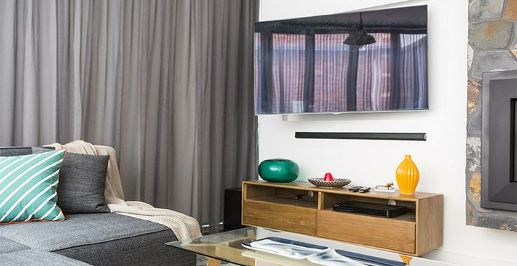 Chantelle and Steve's Living Room featuring Samsung Soundbar and 3D Blu Ray Player from The Good Guys #TheGoodGuys #TheBlock #Samsung